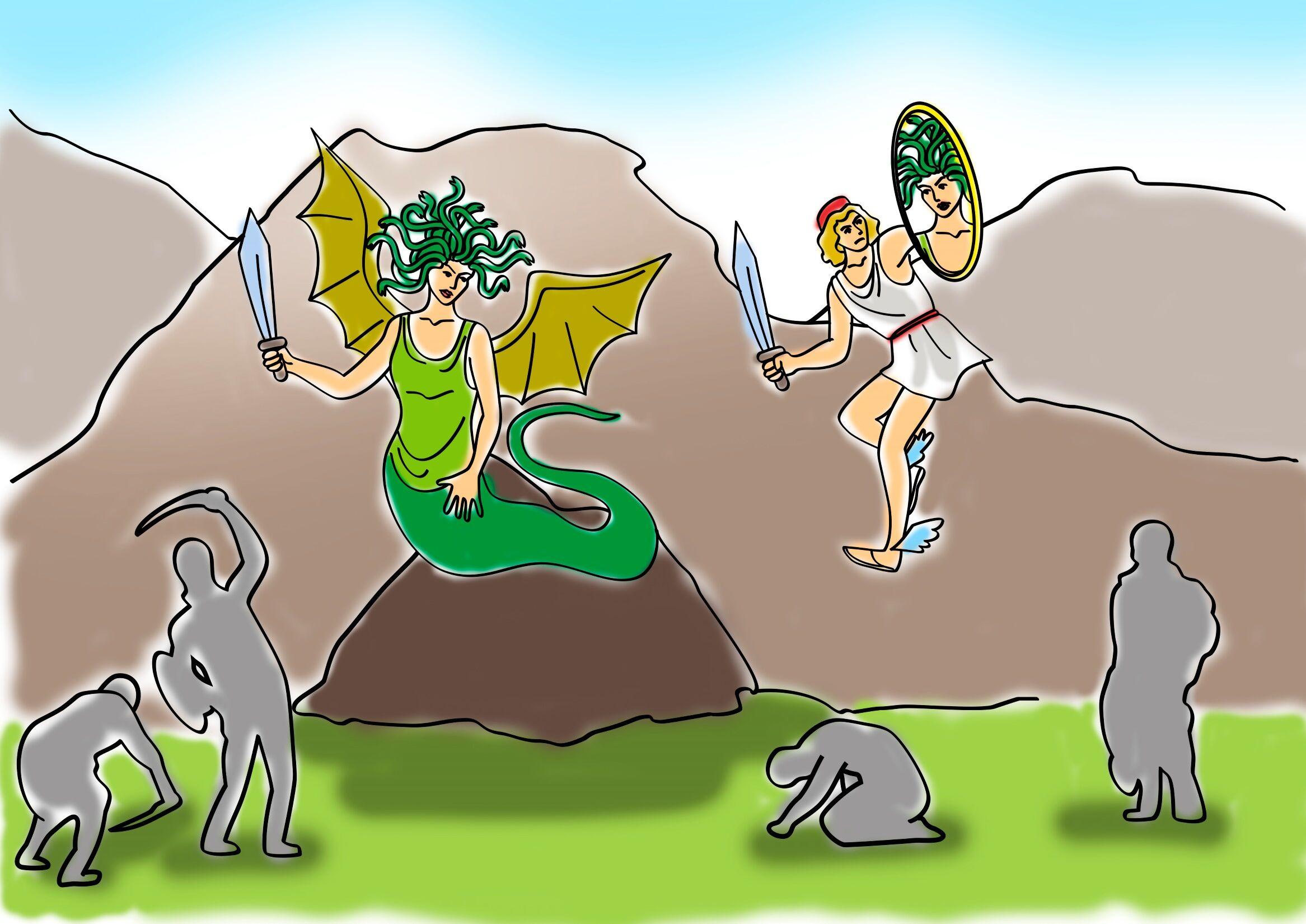 Персей и медуза горгона рисунок