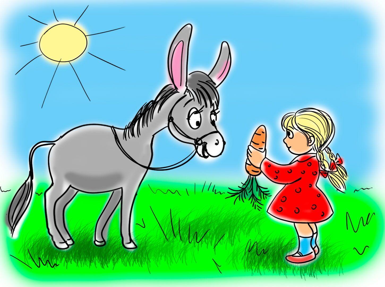 Картинка осел идет за морковкой